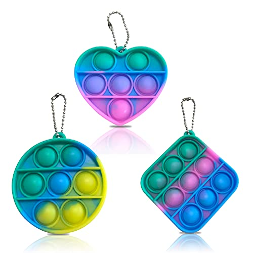LucaSng Mini Simple Dimple Fidget Toy - 3 Pcs Hand Toys Keychain Toy Stress Relief Push Bubble Sensory Fidget Toy Anxiety Stress Reliever Office Desk Toy for Kids Adults (Rainbow)