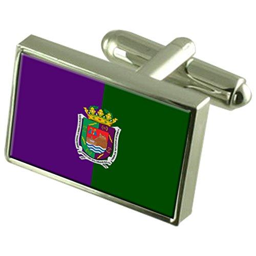 Select Gifts La Ciudad de Málaga España Plata esterlina Gemelos Bandera Cuadro Grabado