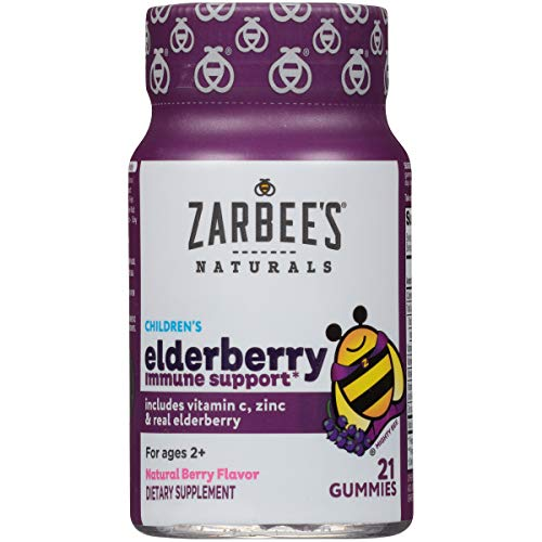 Zarbee's Naturals Children's Elderberry Immune Support* with Vitamin C & Zinc, Natural Berry Flavor, 21 Gummies