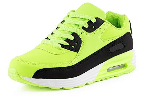 Fusskleidung Herren Damen Sportschuhe Dämpfung Neon Sneaker Laufschuhe Runners Gym Unisex Grün Schwarz EU 38