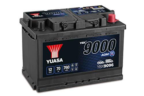 Yuasa YBX9096 Batería de coche AGM Start Stop Plus 12V 70Ah 760A
