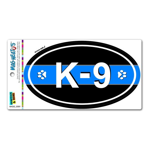 Graphics and More Thin Blue Line K-9 Unit Paw Prints - Police Euro Oval Automotive Car Refrigerator Locker Vinyl Magnet