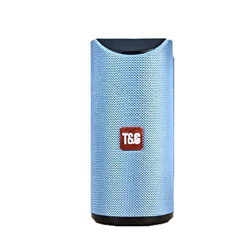 HELOVS Tragbarer Bluetooth-Lautsprecher, tragbar, für den Außenbereich, kabellos, Mini-Säule, 3D-Stereo-Musik-Surro&-Unterstützung, FM, TF-Karte, Bass, 10 W, Bluetooth-Lautsprecher, klein (blau)