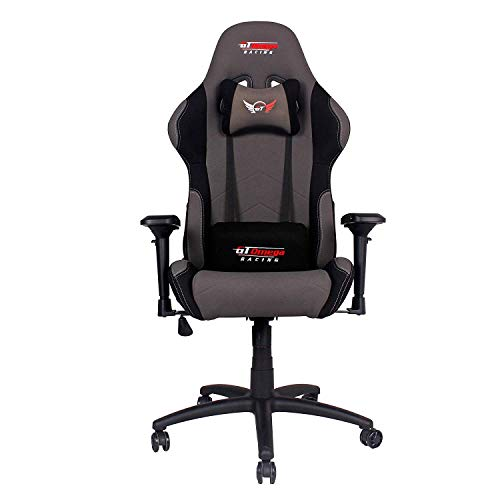 GT Omega PRO Racing Fabric Gaming Chair with Lumbar Support - Breathable & Ergonomic Office Chair with 4D Adjustable Armrest & Recliner - Esport Seat for Ultimate Gaming Experience - Grey Next Black