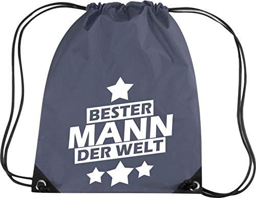 Shirtstown - Sacca da ginnastica con scritta in lingua tedesca 'Bester Mann der Welt', BG10-09026-graphite, grafite, 33 cm x 45 cm