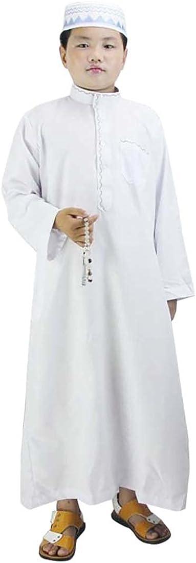 Kids Popularity Jubba Thobe Long Sleeve Solid Collar Boy Stand Dress Muslim Max 86% OFF