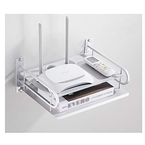 GSSSLT TV Box Router Set-top boxes Reproductor de DVD Estante de almacenamiento de aluminio para montaje en pared, estantes flotantes, soporte soporte soporte (26 x 21 x 15 cm, doble capa plateada)