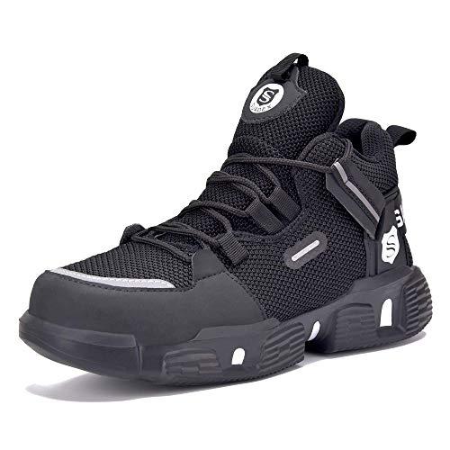 SUADEX Zapatos de seguridad para hombre y mujer, ligeros, deportivos, transpirables, resistentes a los golpes, antideslizantes, con puntera de acero, 37-48 EU, color Negro, talla 44 EU