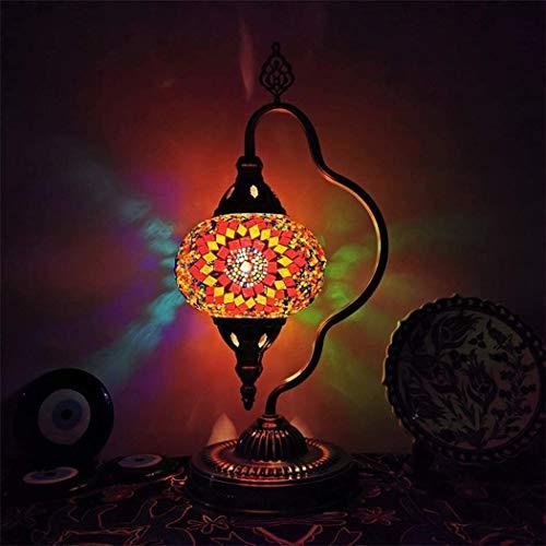 Lámpara de mesa turca Marrakech Linterna marroquí manchada mosaica hecha a mano Lámpara de escritorio de cristal de ahorro de energía para la lámpara decorativa del dormitorio para la sala de estar