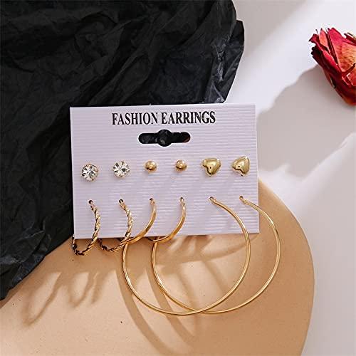 FEARRIN Pendientes Pendientes de Moda Pendientes Conjunto Pendientes de Perlas de Cristal para Mujer Pendientes de aro Grandes Bohemios Joyas de Fiesta Brincos geométricas LNI1057-7