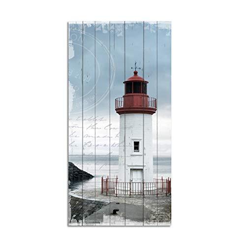 Cuadros Lifestyle Wandbild aus Holz | Holzbild | Shabby-Look | Landhaus | Leuchtturm | Vintage | Geschenk, Größe:ca. 50x100 cm