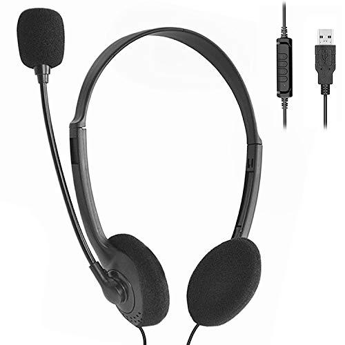 Auriculares con Microfono PC, Auriculares USB con Cancelación de Ruido y Sonido Estéreo Claro, Auriculares con Cable con Control de Volumen para Skype, Centros de Llamadas, Cursos Online