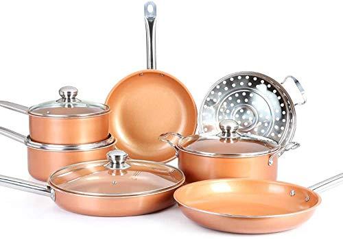 Batterie de Cuisine antiadhésive en cuivre 11 pièces, casseroles et poêles en...