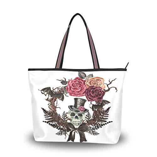 Ahomy Strandtasche für Damen, Wasserfarben, Gothic, Totenkopf, Kranz, Fledermaus, große Schultertasche für Damen, Mehrfarbig - multi - Größe: L