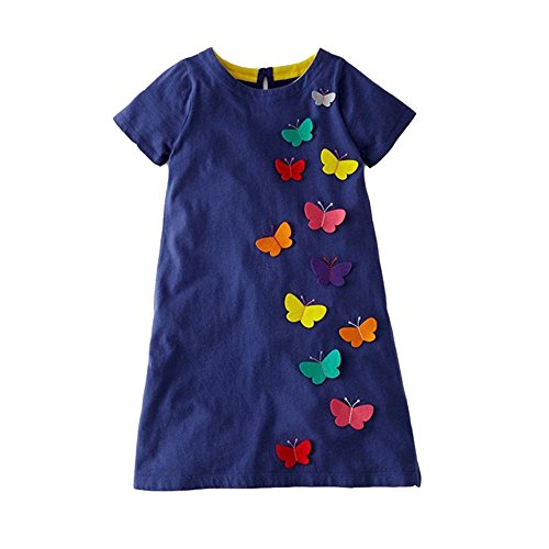 VIKITA Mädchen Blumen Langarm Baumwolle Kleid EINWEG JM6808 3T