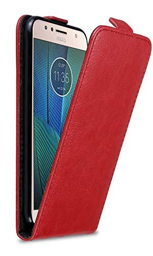Cadorabo Hülle für Motorola Moto G5S Plus in Apfel ROT - Handyhülle im Flip Design mit Magnetverschluss - Hülle Cover Schutzhülle Etui Tasche Book Klapp Style