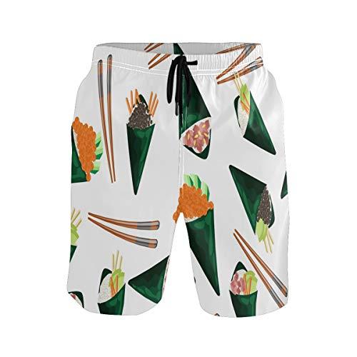 BONIPE Zwembroek voor heren Japans eten Sushi eetstokjes Patroon Quick Dry Board Shorts met trekkoord en zakken