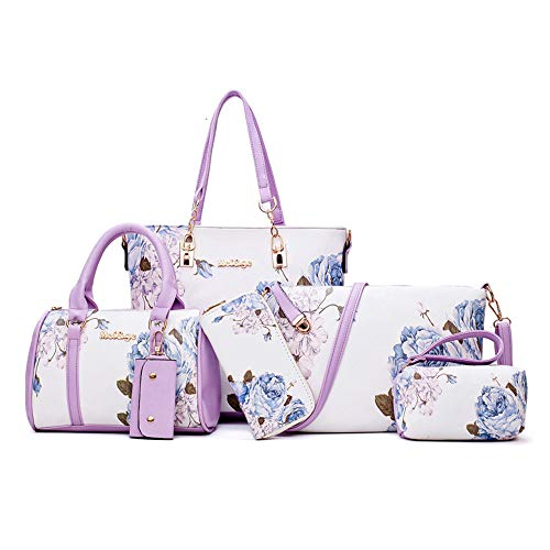 Women Designer Purses And Handbags Set Satchel Shoulder Bags Tote Bags 6pcs Wallets (purple&white)