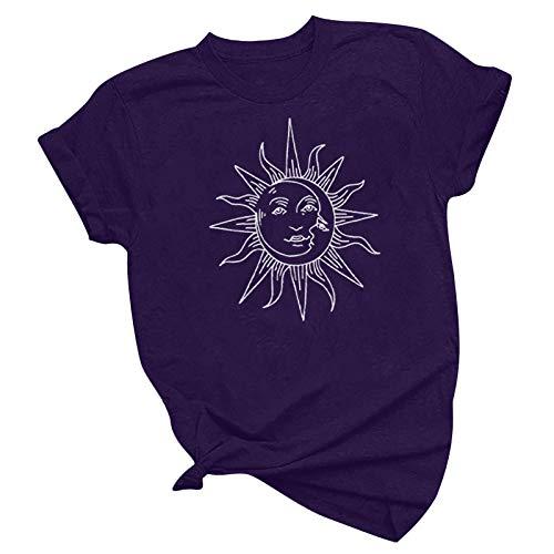 Camiseta Deportiva de Manga Corta para Hombres y Mujeres con Cuello gráfico. (Púrpura, M)