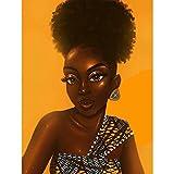Kit De Pintura De Diamante 5D Para Manualidades,Mujer africana Diamond Painting,Punto de cruz diamante adorno con cristales de imitación de diamante hogar decoración de la pared 40x50cm