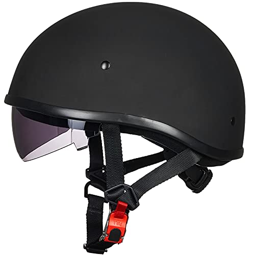 ILM Motorcycle Half Helmet with Sunshield Quick Release Strap Half Face Fit for Cruiser Scooter...