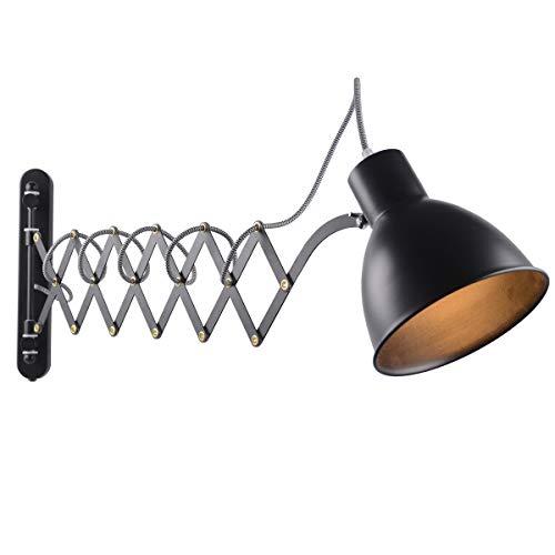 Wandleuchte Schwenkbar Schwarz, Wandlampe mit Schalter Dimmer, Vintage Industrial Wandleuchte, Ausziehbar Scherenlampe, Links/Rechts Schlafzimmer Nachttischlampe, Leseleuchte Flexible Büroleuchte