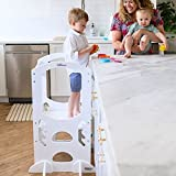 Little Partners Kids Learning Tower Child Kitchen Stool Helper Adjustable Height Step Stool, Wooden Frame, Counter Step-Up Active Standing Tower (Soft White)