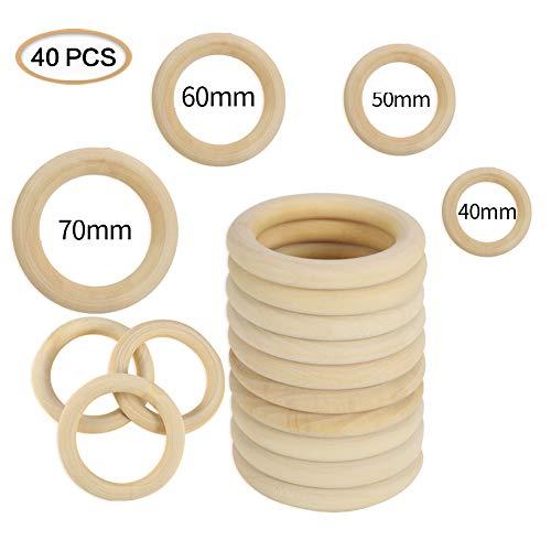 miuse Holzring,Holz Ringe Hölzern für Basteln DIY Handwerk Ring Anhänger und Anschlussstück Schmuck Machen Baby Spielzeug Säugling Rattle Toys 40 Stück Holzring
