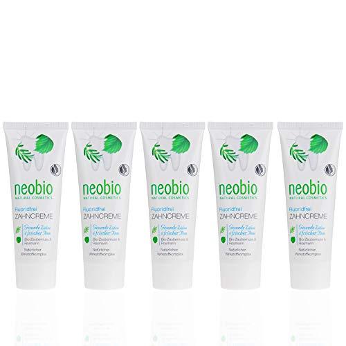 NEOBIO Zahncreme ohne Fluorid (5 X 75 Ml), Rosmarin Und Zaubernuss Geschmack, Bio Zahnpasta, Vegan, Fluoridfrei, Naturkosmetik
