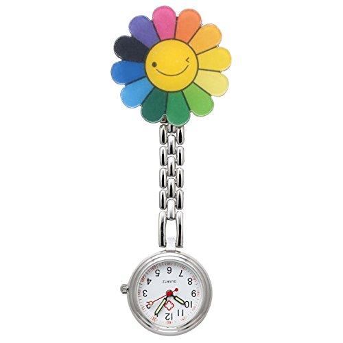JSDDE Uhren Krankenschwesteruhr FOB Uhr Pflegeruhr Pulsuhr Ketteuhr Ansteckuhr Schwesternuhr mit Clip Analoge Quarzuhr Taschenuhr (Sonnenblume)