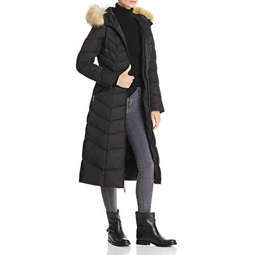Tahari Jacqueline Quilted Faux Fur Trim Maxi Winter Puffer Coat Black Size XS