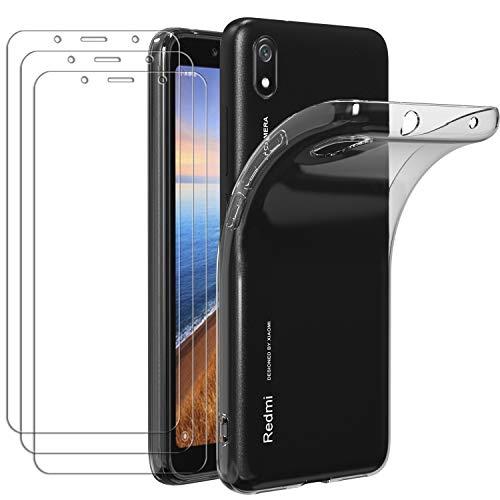 ivoler Hülle für Xiaomi Redmi 7A, mit 3 Stück Panzerglas Schutzfolie, Dünne Weiche TPU Silikon Transparent Stoßfest Schutzhülle Durchsichtige Handyhülle Kratzfest Hülle