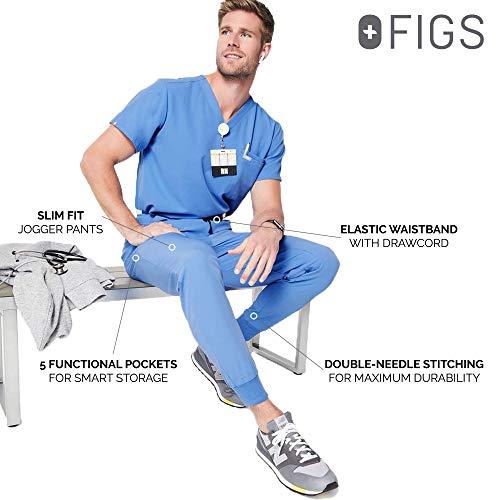 FIGS Tansen Jogger Style Scrub Pants for Men - Ceil Blue, M