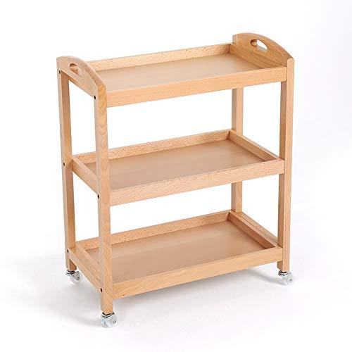 LSX-Shelf Carro estantería de Madera Hermosa y Conveniente Estante de Estudio de Cocina de baño, Color Madera, 60 x 33 x 75 cm OYO