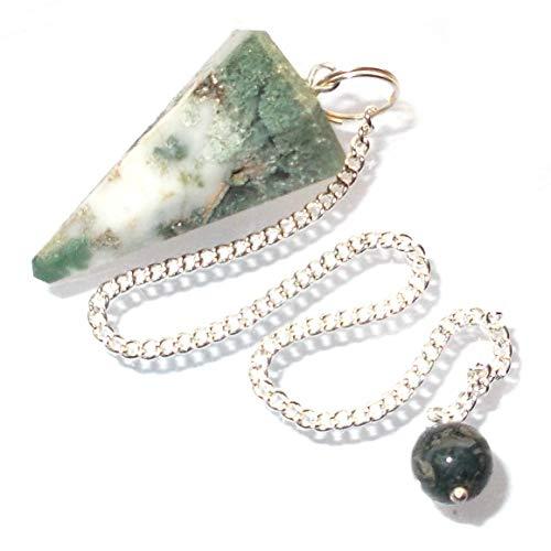Péndulo cónico de cristal para radiestesia y sanación - gemas naturales genuinas (Piedra de Luna Arcoiris)