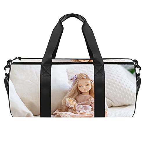 Borsone cilindrico da viaggio per bambole di design con tasca bagnata leggera borsa da allenamento da viaggio con tracolla per uomini e donne
