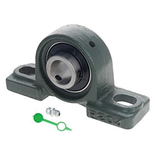 Othmro UCP204 flanged Pillow Block Bearing, 20mm Bore Diameter, Bearing Steel + cast Iron Set Screw Lock 1pcs