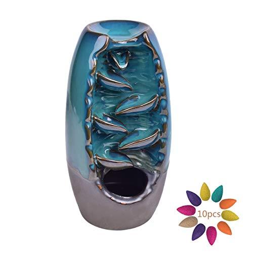 Magiin Keramik Räucherstäbchenhalter Wasserfall Rückfluss Räuchergefäß Aromatherapie Ornament Wohnkultur mit 10 Räucherstäbchen Kegel (Blau)