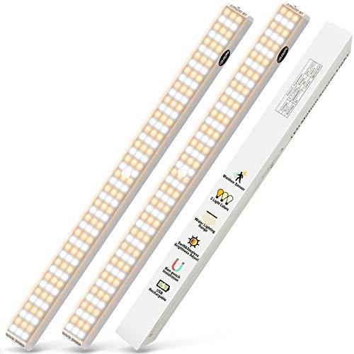 132 LED Schrankbeleuchtung mit Bewegungssensor - 2 Stück SchrankLicht led leiste für Küche Kleiderschrank Treppe Wiederaufladbar Batterie 3 Modus lampe und 3-Ebene Helligkeitseinstellung