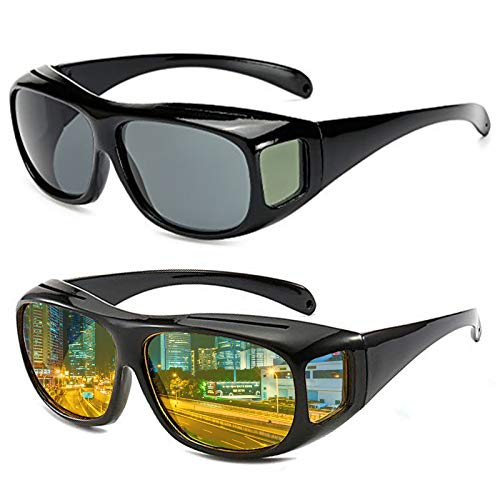 2pcs Night Vision Goggles Fit Over Prescription Glasses Wrap Arounds Sunglasses for Protection