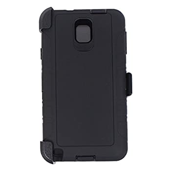 Heavy Duty Defender Rugged with Built-in Screen Protector and Clip Case Cover for Samsung Galaxy Note 3  Black
