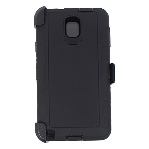 Heavy Duty Defender Rugged with Built-in Screen Protector and Clip Case Cover for Samsung Galaxy Note 3 (Black)