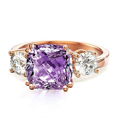 Samie Collection 3 Stone Cushion Cut Amethyst Color AAACZ Engagement Rings for Women Inspired by Royal Wedding with Simulated Diamond in 18K Rose Gold Plating, Size 5 -  SIRVSWY-AMT-05