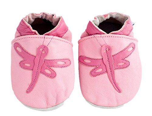 Chaussures en cuir souple pour fillettes Motif libellule - - rose, 6-12 mois