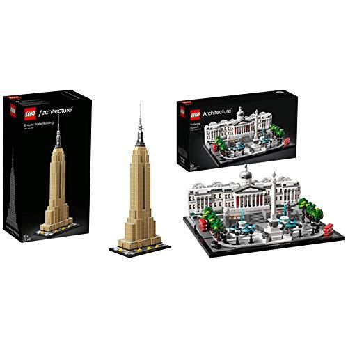 LEGO Architecture Empire State Building Nuevo Juego de Construcción, Maqueta de Juguete de la Icónica Torre de New York (21046) + Trafalgar Square Nuevo Maqueta de Juguete