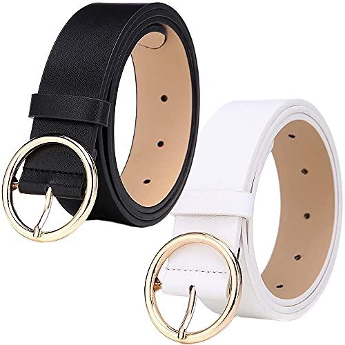 LWZko 2 Piezas Cinturón de Cuero para Mujer, Cinturón de Hebilla Redonda, Cuero PU Retro Clásica Ajustable Señoras Cinturón de Moda para Mujeres, Vestidos, Niñas, Pantalones Vaqueros (Blanco Negro)