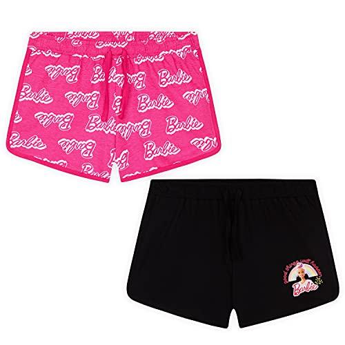Barbie Pantalon Corto Niña, Pantalones Cortos 100% Algodón, Pack de 2 Shorts para Niña De 3-14 Años (Rosa/Negro, 9-10 años)