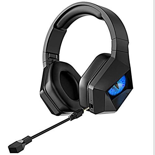 ACEMIC Wireless Auriculares para Juegos,Estéreo Cascos Inalámbricos Montado En La Cabeza,Micrófono con Cancelación De Ruido,2.4G Auriculares Gaming para PS4, PC, Xbox One,Azul