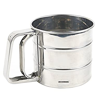 Stainless Steel Flour Sifter for Baking,Flour Sifter with Crank Dishwasher Safe (Small)