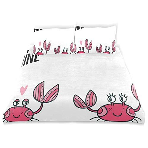 Rorun Ilustración de Dibujos Animados Funky de Pareja de cangrejos minúsculos con Mensaje Be Mine,Juego de Ropa de Cama con Funda nórdica de Microfibra y 2 Funda de Almohada - 240 x 260 cm
